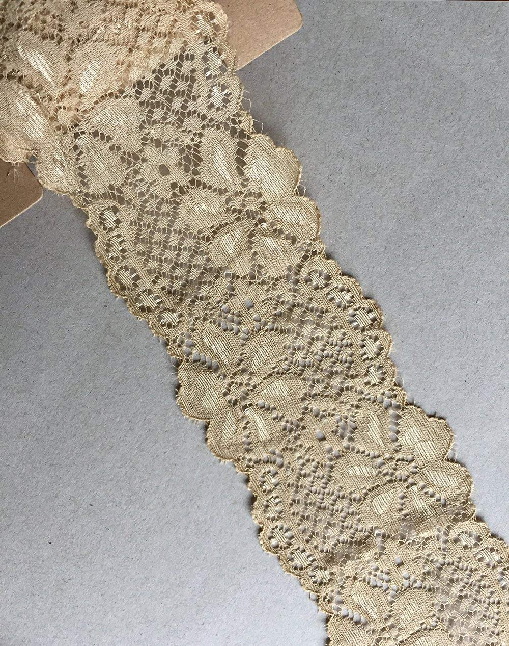 Beige Onyx LACE REALM 2.5/″/×10 Yards Stretch Floral Pattern Lace Ribbon Trim Lace for Headbands Garters Decorating Floral Designing /& Crafts