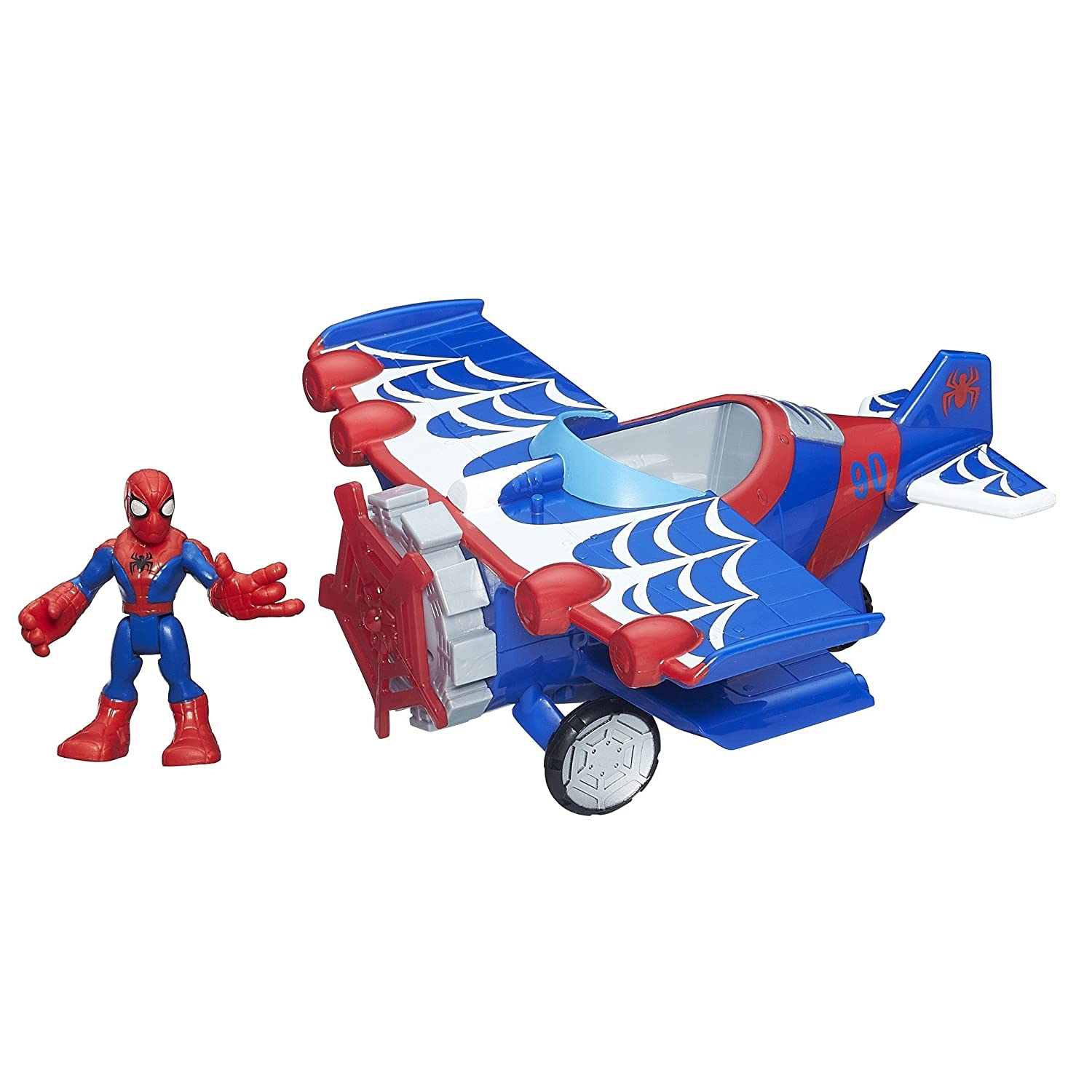 Playskool Heroes Marvel Super Hero Adventures Stunt Wing Spider Plane Spiderman Toy   B00P926ZX0