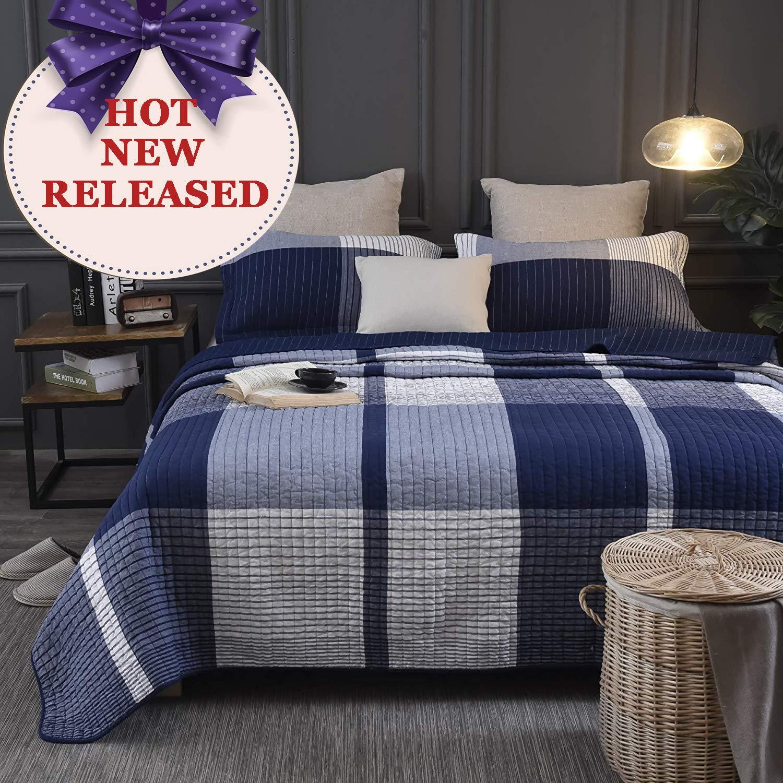 Brandream Navy and White Bedding Buffalo Plaid Comforter Set Queen Size Quilt Bedspread Set 100% Cotton Summer Bedding