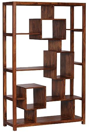 WOHNLING Bücherregal Massiv Holz Sheesham 115 X 180 Cm Wohnzimmer Regal  Ablageföcher Design Landhaus