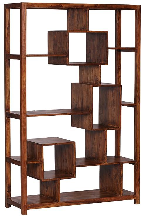WOHNLING Bücherregal Massiv-Holz Sheesham 115 x 180 cm Wohnzimmer-Regal  Ablageföcher Design Landhaus-Stil Standregal Natur-Produkt Wohnzimmermöbel  ...