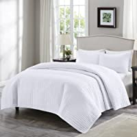 Comfort Spaces Kienna 3 Piece Quilt Coverlet Bedspread Ultra Soft Hypoallergenic Microfiber Stitched Bedding Set, Fabric, White, Twin/Twin XL