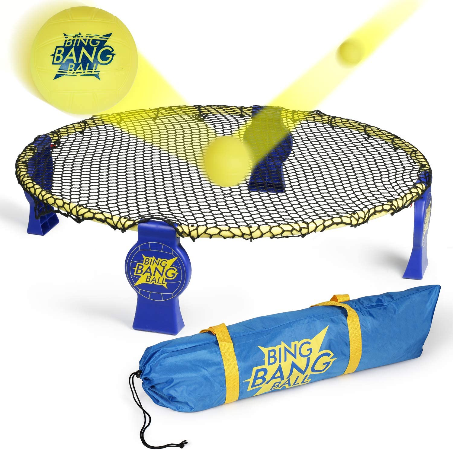 A11N 2019 Bing Bang Ball Game Set; Includes Round Net-Upgraded EVO-Honeycomb PE Net and Steady Metal Frame, 3 Balls, Bag and Rules; Volleyball Spike Game for Beach, Lawn, Camping, Tailgate