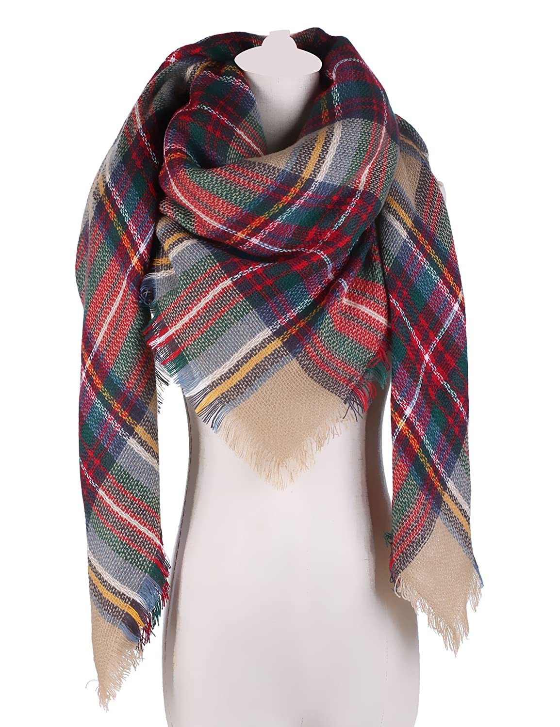 4859a1cb57c Large Tartan Blanket Scarf Warm Checked Plaid Shawl for Womens at Amazon  Women s Clothing store