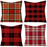 IcosaMro Red Plaid Throw Pillow Covers 18x18 Boho Pillow Cases Set of 4 Merry Christmas Xmas Decorations Square Zippered…