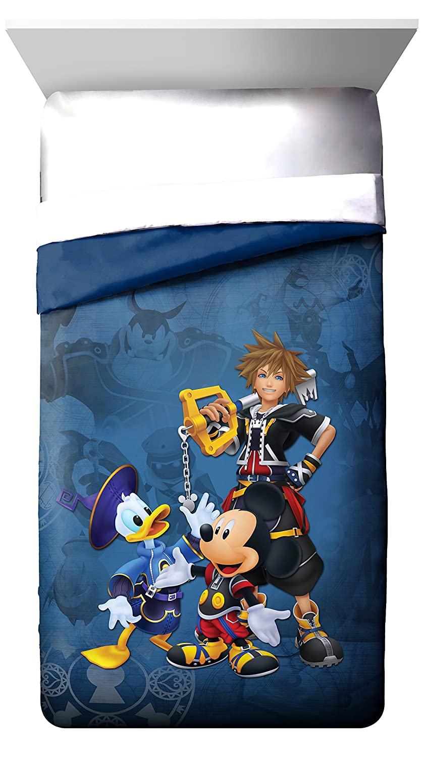 Disney Kingdom Hearts Metal Blue Twin Reversible Comforter with Mickey Mouse, Donald Duck & Sora