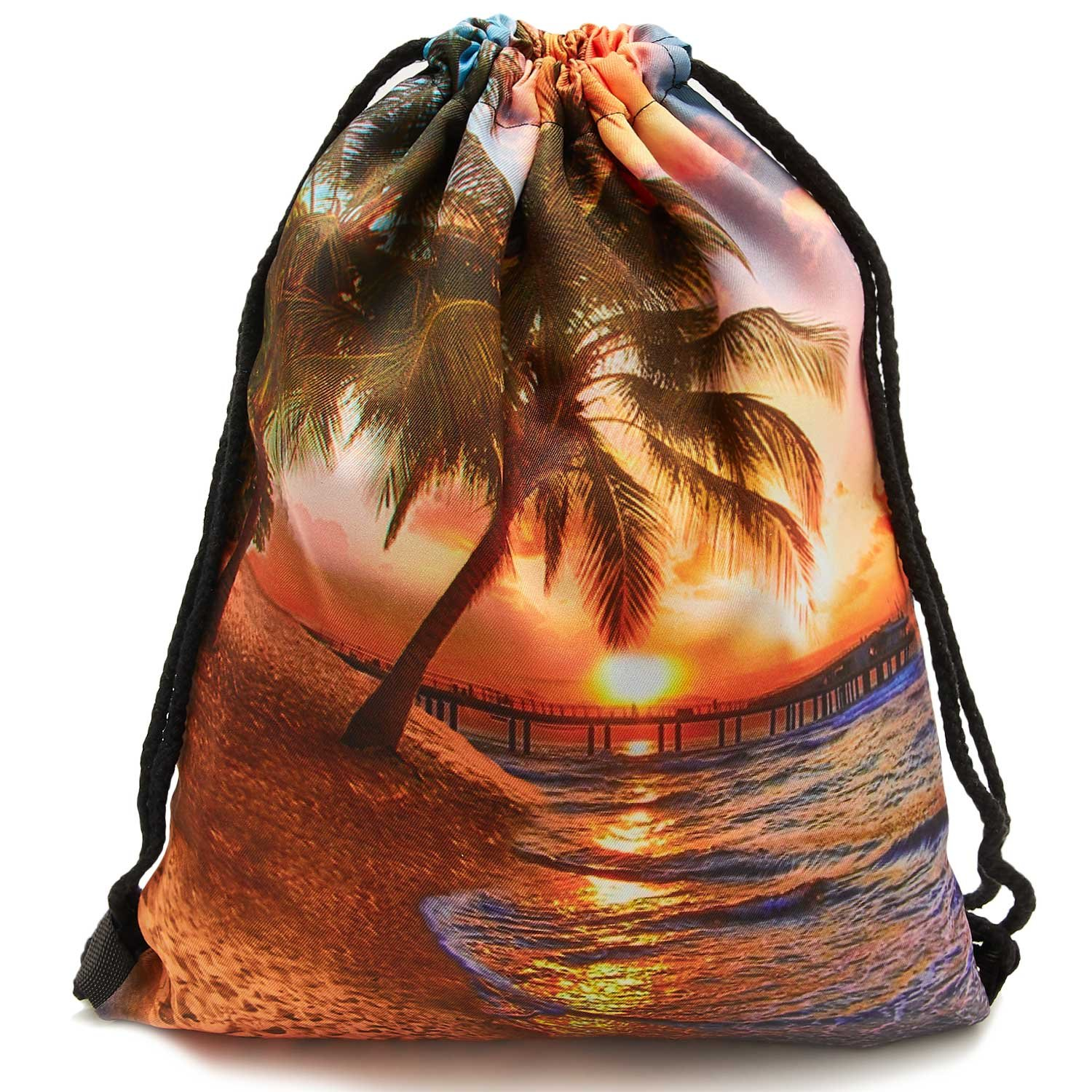 TUONROAD Travel Portable Travel Backpack Cute Cosmetic Pouch Storage 3D Pattern Summer Vacation Beach Theme Sunset Palm Tree the Setting Sun Cool Cinch Bags Zipper Handy Cosmetic Pouch