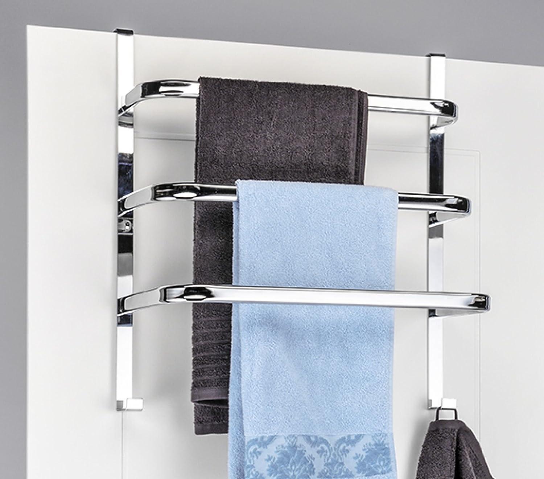 Handtuch-Halter f/ür die T/ür mit 3 Stangen und 2 Haken Chrom 56 x 49 x 25 cm