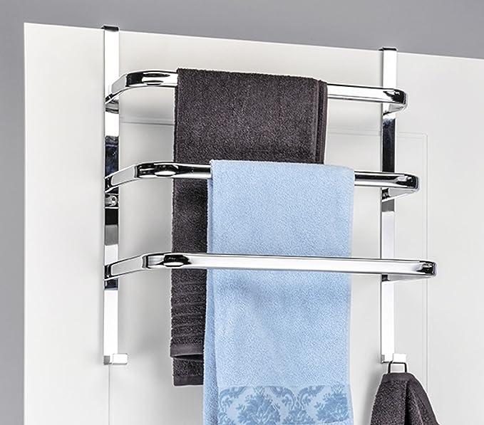 Handtuch-Halter für die Tür mit 3 Stangen und 2 Haken Chrom 56 x 49 ...