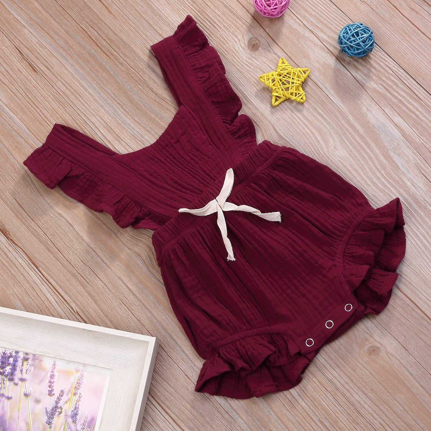 YOUNGER TREE Toddler Baby Girl Ruffled Collar Sleeveless Romper Jumpsuit Clothes
