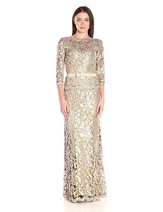 Amazon.com: Tadashi Shoji Women\'s Sequin Embroidered Gown with 3/4 ...