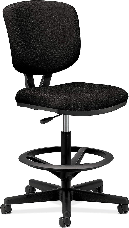 HON H5705.GA10.T Volt Task Stool – Upholstered Office Stool, Black Fabric H5705