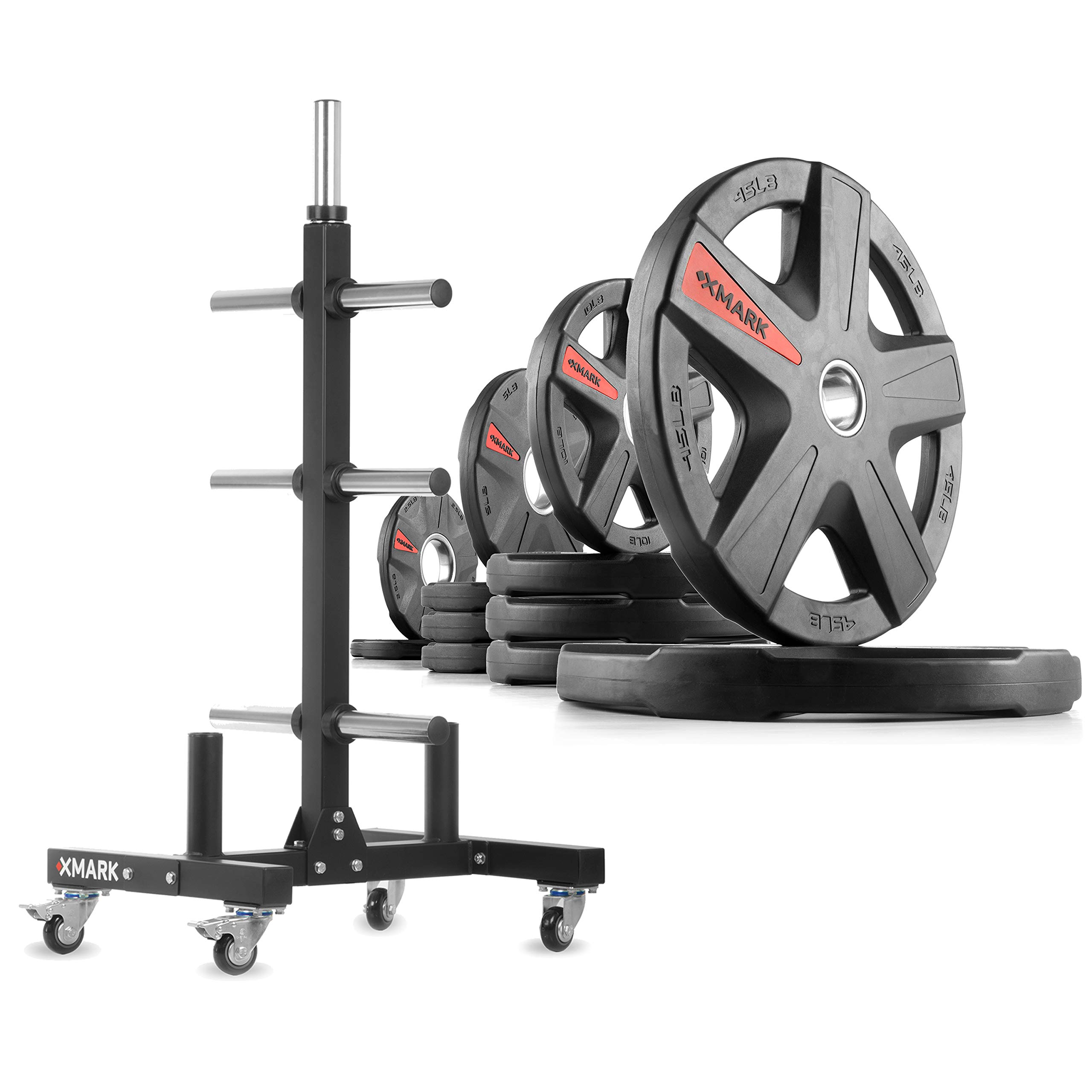 XMark XM-9055 Commerical Olympic Weight Tree Plus a 155 lb Set of Texas Star Olympic Plates by XMark