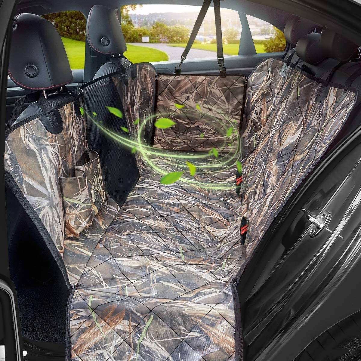 KIMHY Camo Dog Seat Cover for Pets, Car Back Seat Cover Hammock with Side Flaps, Mesh Window Storage Bag, 100 Waterproof Pet Seat Cover for Cars, SUV, Jeeps and Trucks