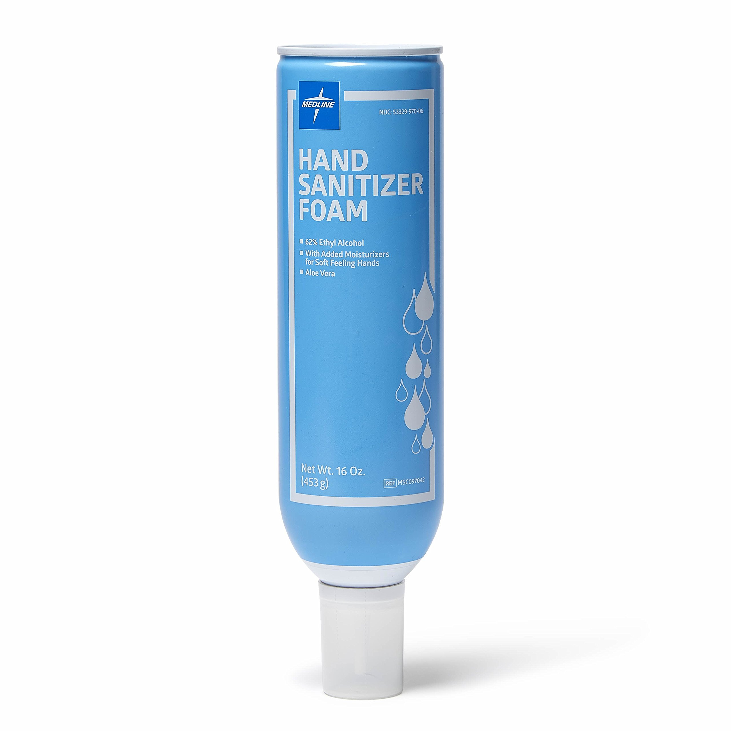 Medline Epi-Clenz Foaming Instant Hand Sanitizers, Latex Free, 16 oz, Clear (Pack of 12) Packaging May Vary