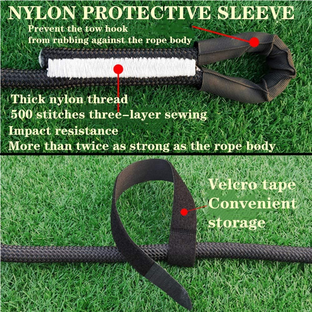 N//V Recovery Tow Strap Breaking Strength 22,000Ibs Black Tow Ropes 3//4 X 32.8 TLFOFS Kinetic Rope Towing Strap is Suitable for Most Rescue Vehicles ATV Utv SUV Kinetic Recovery Rope