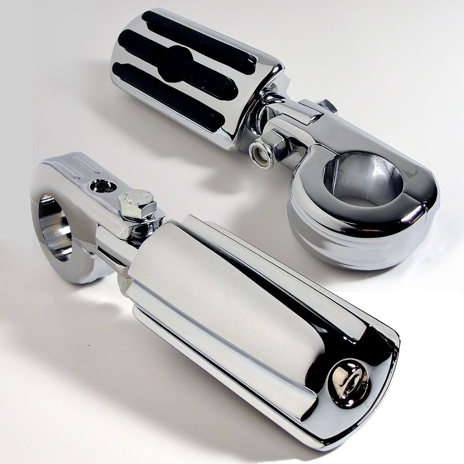 Hoosier Garage - Top Quality- Highway Pegs Foot Rests to fit 1.25'' Engine Guard - Compatible with Harley-Davidson Road Glide, Electra Glide, Road King, Street Glide - Priority Mail Shipping by Hoosier Garage