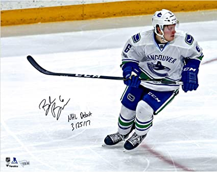 Brock Boeser Vancouver Canucks Autographed 16 quot  x 20 quot  NHL Debut  Skating Photograph with NHL 98c78a062