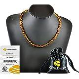 Collar de Ambar Natural - Unisex, 46-47 cm. De la Máxima Calidad Certificado Genuino Collar de Ámbar Báltico / Rápido Entrega / 100 Días de Garantía de Devolución de Dinero!