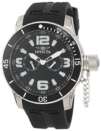 Invicta Mens 1790 Specialty Black Textured Dial Black Silicone Watch