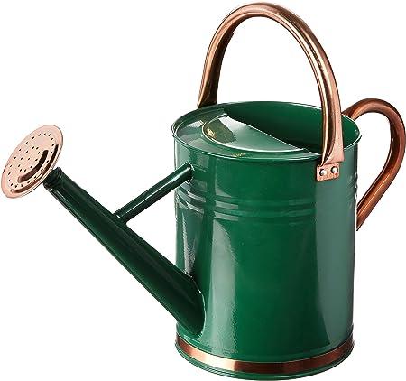 Gardman 8327 Hunter Green Galvanized Steel Watering Can With Copper Accents 1 Gallon Garden Outdoor