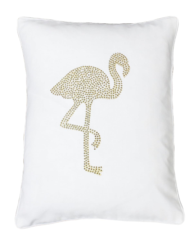 Thro by Marlo Lorenz TH013450002E Phyllis Flamingo Pillow Bright White Gold