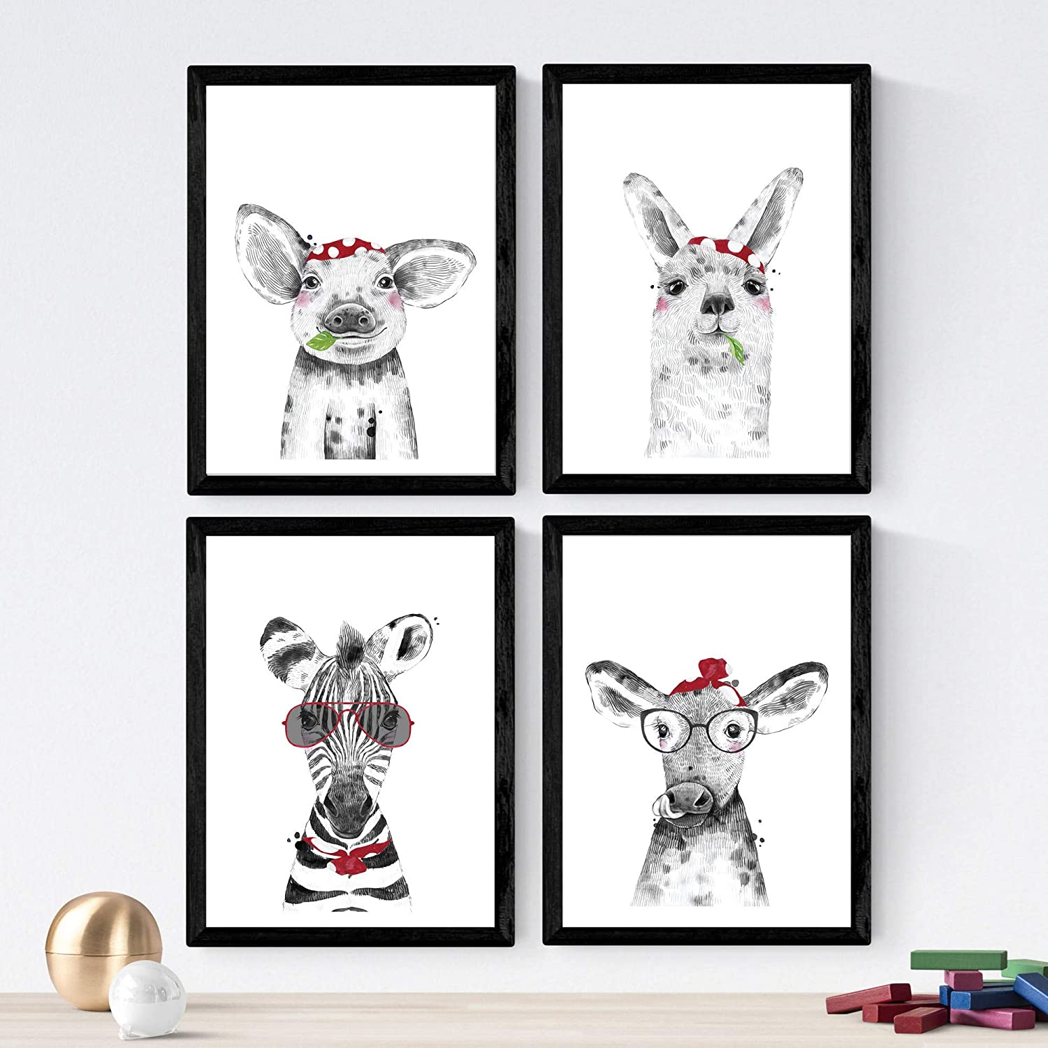 Nacnic Prints Baby Animals - Set of 4 - Unframed 8x11 inch Size - 250g Paper - Beautiful Poster Painting for Home Office Living Room