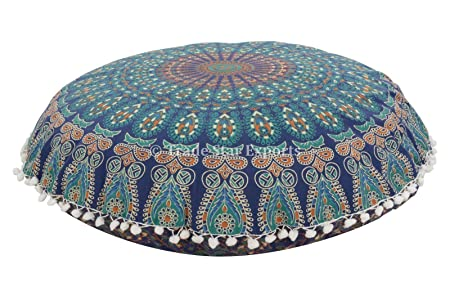 Mandala Pillow Case 40 Large Floor Cushions Indian Pouf Adorable Large Decorative Floor Pillows