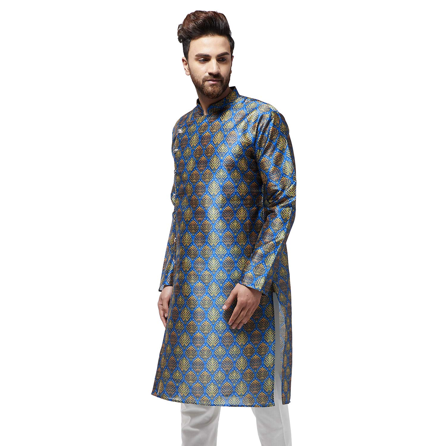 Festival-Men-Dupion-Silk-Kurta-Pajama-Ethnic-Party-Wear-Bollywood-Dress-Pyjama thumbnail 13
