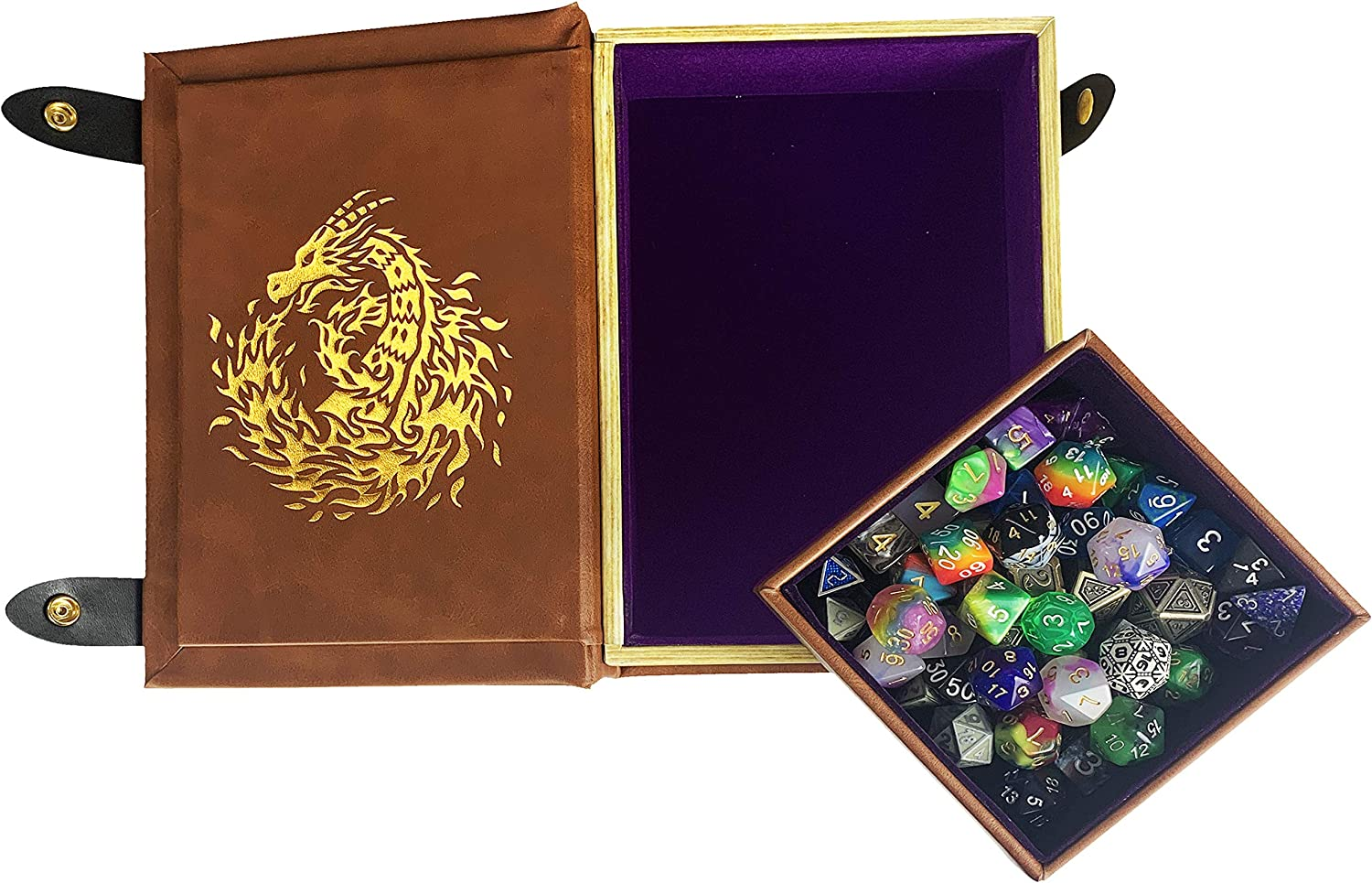 Fantasydice Book-Shaped Gold /Purple Fire Dragon Rolling Magic Book Tray for All Tabletop RPGs Like D&D , Call of Cthulhu, Shadowrun.