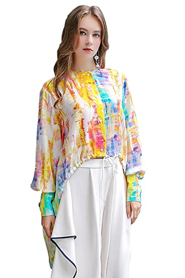 ba8a4273 Image Unavailable. Image not available for. Color: VOA Women's Rainbow Silk  Blouse Long Sleeve ...