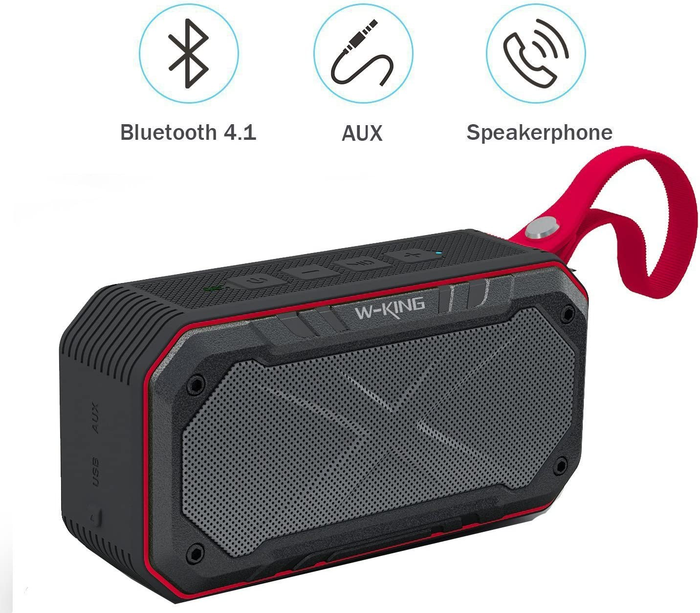 WONFAST Bluetooth Speaker IPX7 Waterproof Bluetooth4.1 Portable Mini Outdoor Sport Wireless Speaker,5W Dual Voice Coil Stereo Built-in Mic,Support FM Radio//TF Card//Audio Input Red