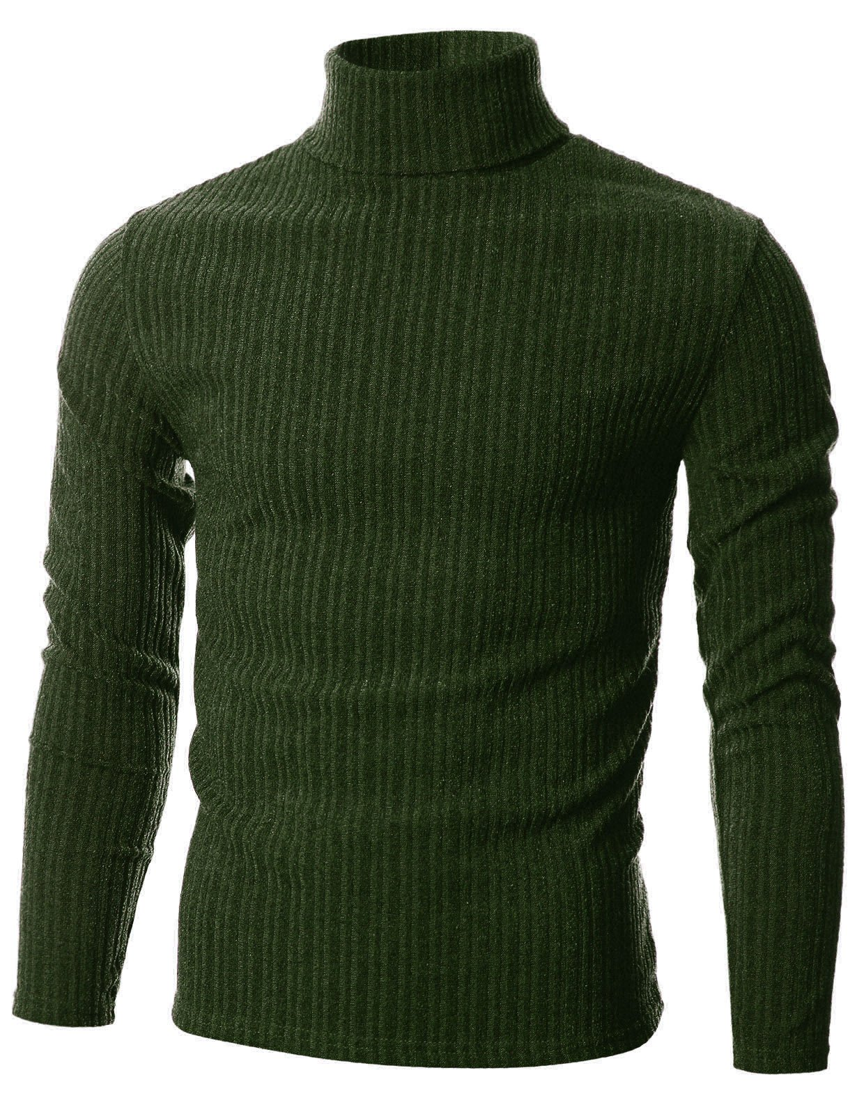 GIVON Mens Slim Fit Wide Ribbed Cotton Blend Turtleneck Pullover/DCP036-KHAKI-M