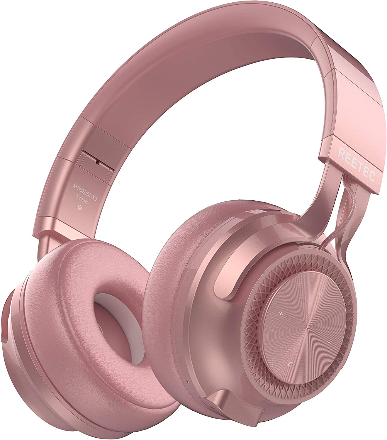 Amazon Com Reetec Wireless Bluetooth Headphones V5 0 With Mic 20 Hrs Playing Time Over Ear Hifi Stereo Wireless Headphones Deep Bass Foldable Headset For Phone Tv Pc Ipad Rose Gold Home Audio