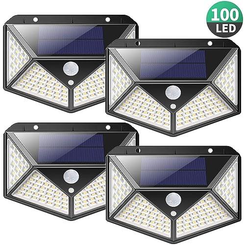 Luz Solar Exterior 100 LED 2200mAh Ahorro de Energía Super iPosible 270 Iluminación de Cuatro Lados Foco Solar con Sensor de Movimiento Impermeable Lámpara Solar 3 Modos para Jardín 4 Paquete