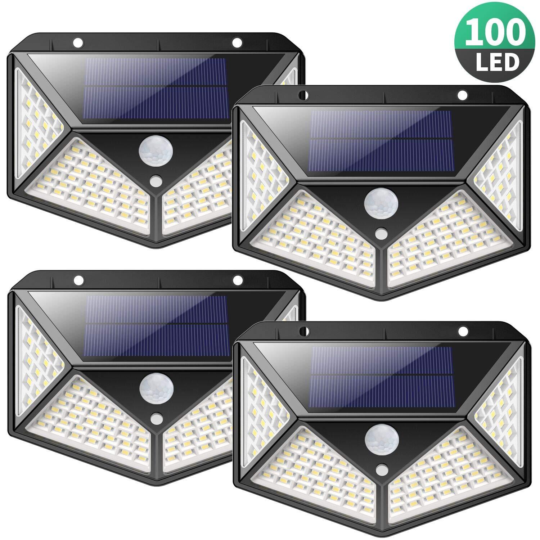 Luz Solar Exterior 100 LED, [2200mAh Ahorro de Energía Super] iPosible 270 °Iluminación de Cuatro Lados Foco Solar con Sensor de Movimiento Impermeable Lámpara Solar 3 Modos para Jardín 4-Paquete product image