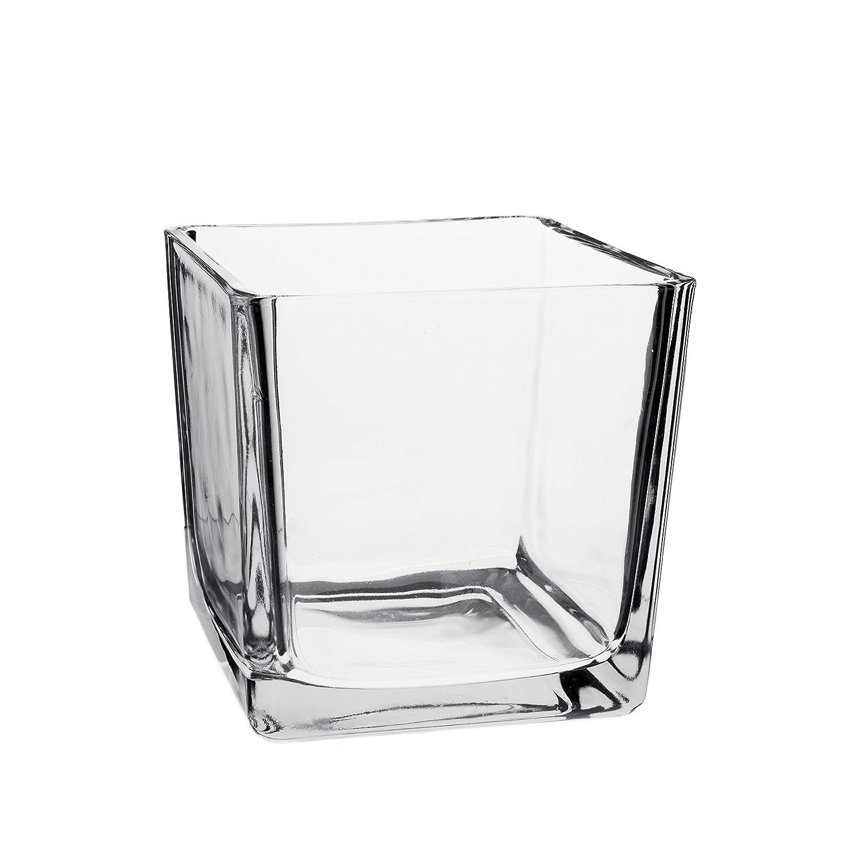 INNA Glas - Quadratische Glasvase Glaswürfel Jack, klar, 25 x 25 x 25 cm - Glas Übertopf Windlicht Glas