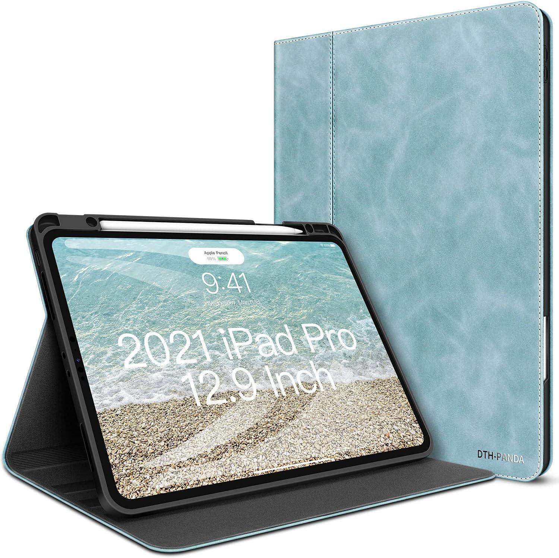 iPad Pro 12.9 Case iPad 5th/4th Generation PU Leather Case 2021/2020/2018 with Pencil Holder - Minimalist Folio Smart Cover Auto Sleep/Wake [Supports Wireless Charging]