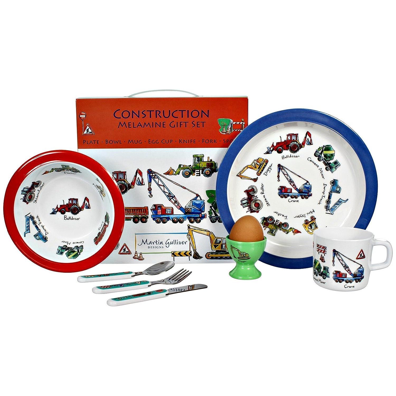 Vajilla infantil de 7 piezas de melamina con diseñ o de construcció n, set de regalo Martin Gulliver CON01