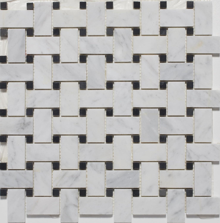 White marble basketweave polished mosaic tiles with black dots white marble basketweave polished mosaic tiles with black dots marble tiles amazon dailygadgetfo Gallery