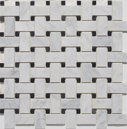 marble basketweave tile. White Marble Basketweave POLISHED Mosaic Tiles With Black Dots Tile