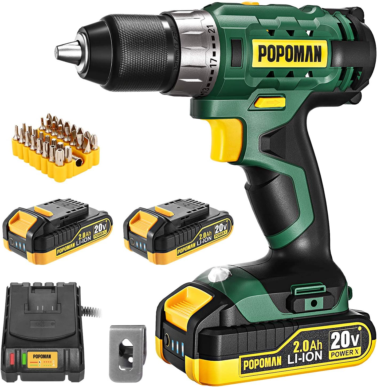 Cordless Drill, 20V Drill Driver 2x2000mAh Batteries, 398 In-lbs Torque, 21+1 Torque Setting, 1/2