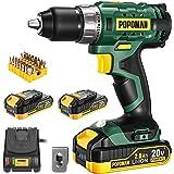 """Cordless Drill, 20V Drill Driver 2x2000mAh Batteries, 398 In-lbs Torque, 21+1 Torque Setting, 1/2"""" Metal Keyless Chuck…"""