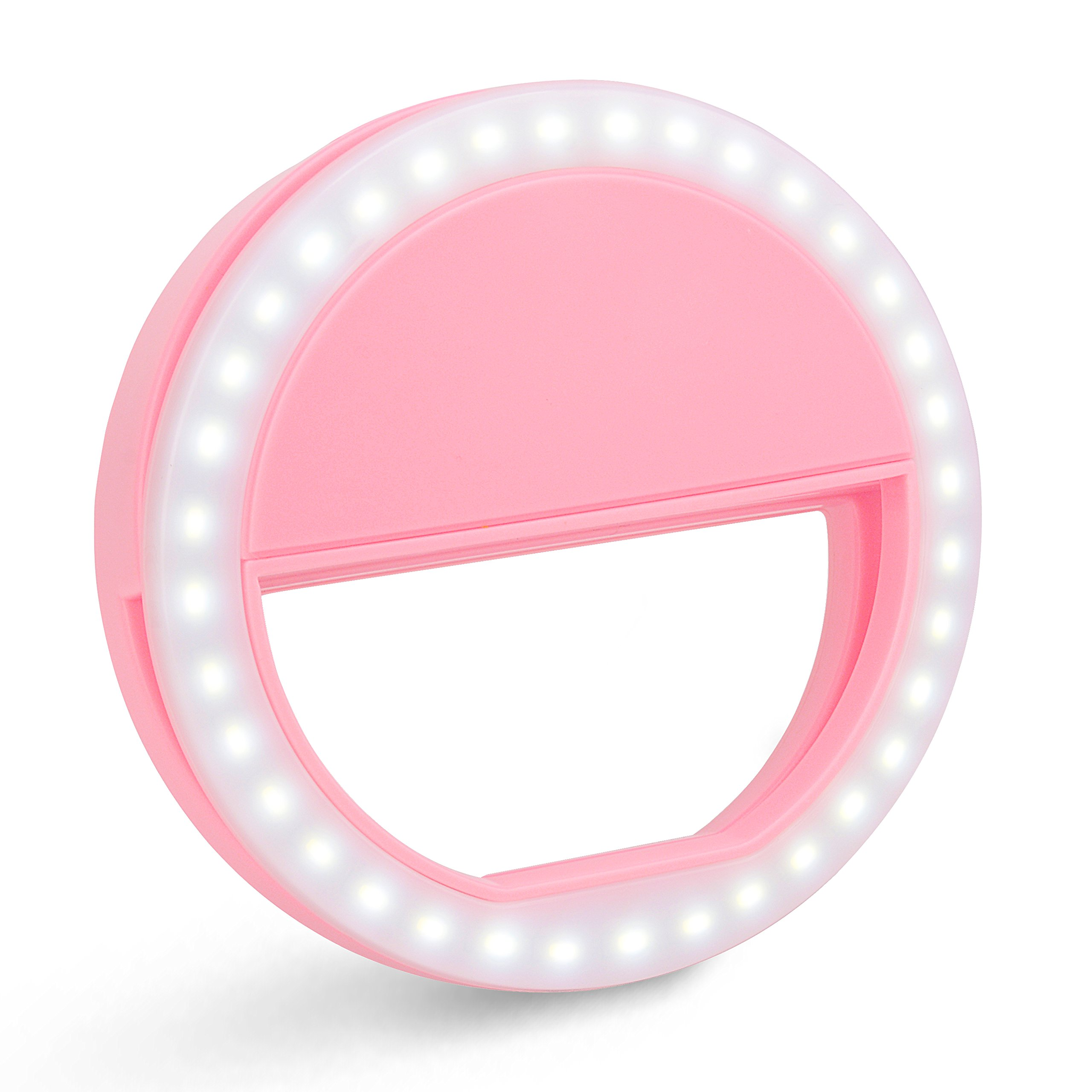 Selfie Ring Light With 36 LED Bulbs, ZOMEI SG04 Flash Lamp Clip Ring Lights Fill-in Lighting Portable for Phone/Tablet/ iPad/Laptop Camera with usb cable- Pink
