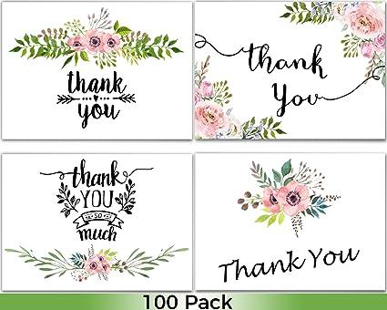 Amazon.com: 100 tarjetas de agradecimiento a granel ...