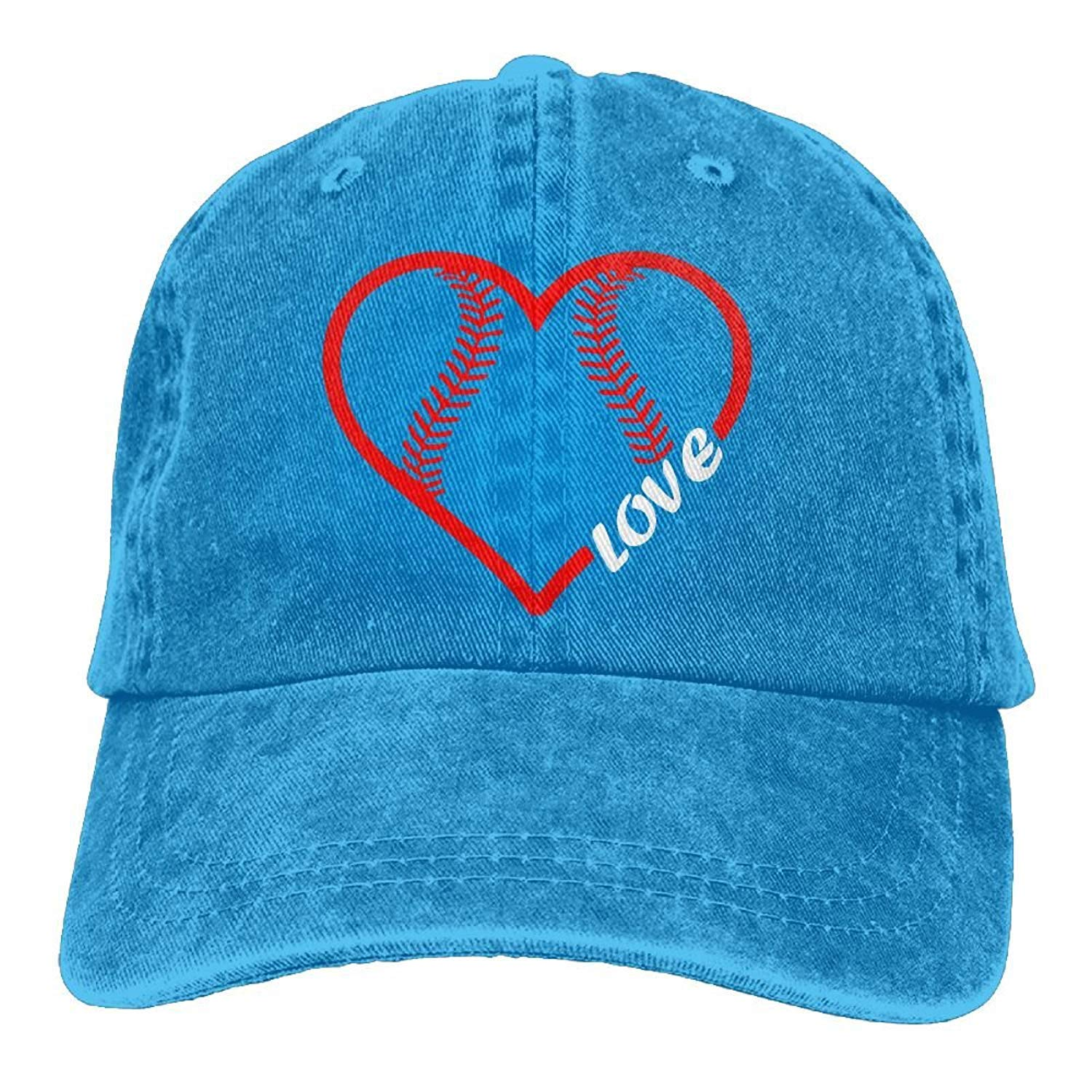 Baseball Softball Love Unisex Baseball Cap Cotton Denim Adjustable Sun Hat for Men Women