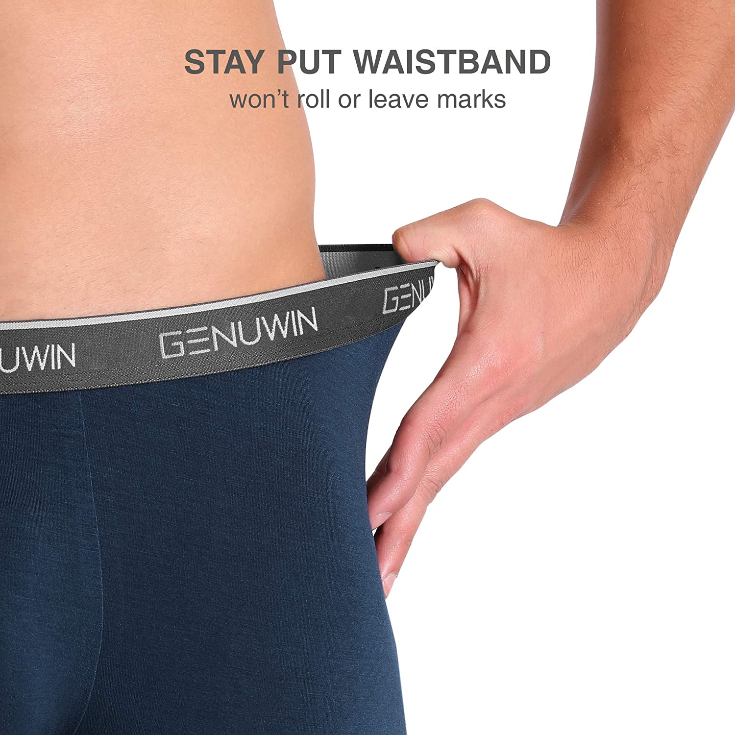 Genuwin Mens 4 Pack Boxer Shorts Ultra Soft Bamboo Trunks Underwear Fitted Boxer Trunks