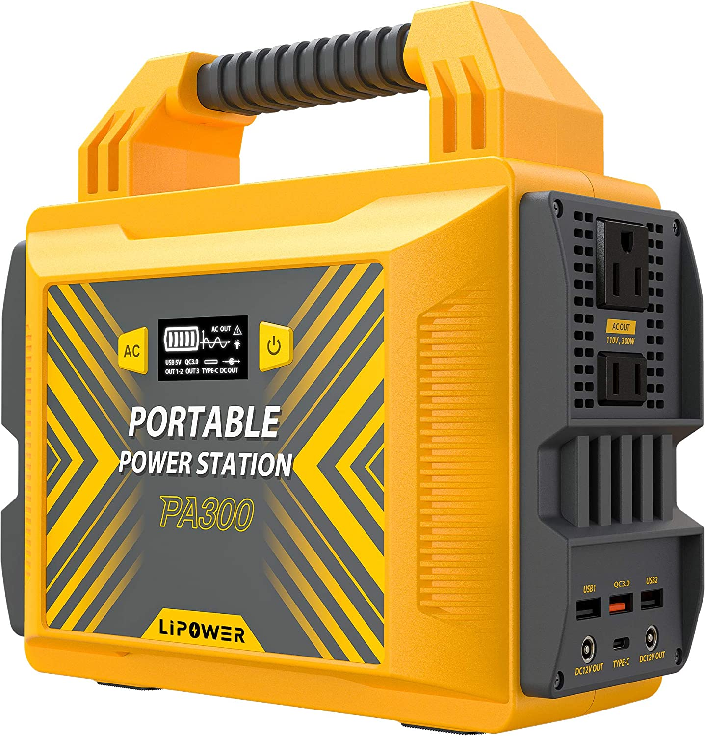 LIPOWER 300W Portable Power Station PA300, 296Wh/80000mAh Outdoor Solar Generator Power Supply (Solar Panel Not Included) , 110V Pure Sine Wave AC Outlet, 2 DC Ports, QC3.0 Port for Road Trip Camping