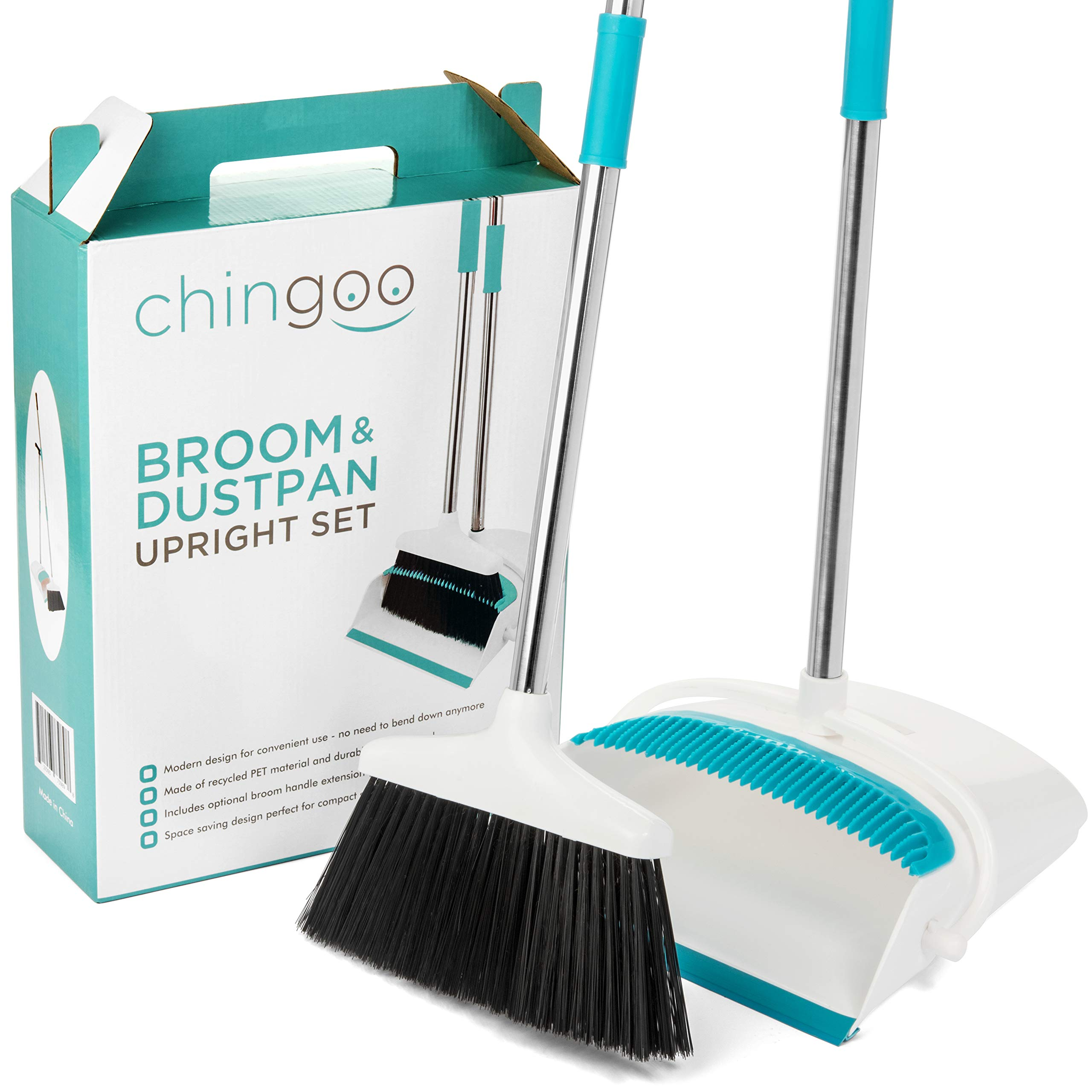 Broom and Dustpan Set by Chingoo - Custom Color Dust Pan with Long Handle, Bristle Combing Teeth and Angled Rubber Edge for Efficient Cleaning - Stop Back Pain with Optional Broom Handle Extension by Chingoo (Image #2)