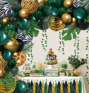 Jungle Safari Tropical Theme Sage Green Balloons Baby Shower Party Supplies Decorations Decor, Wild One 1st First Theme Birthday Baby Shower Decorations for Boys Girl, Balloons for Birthday Party